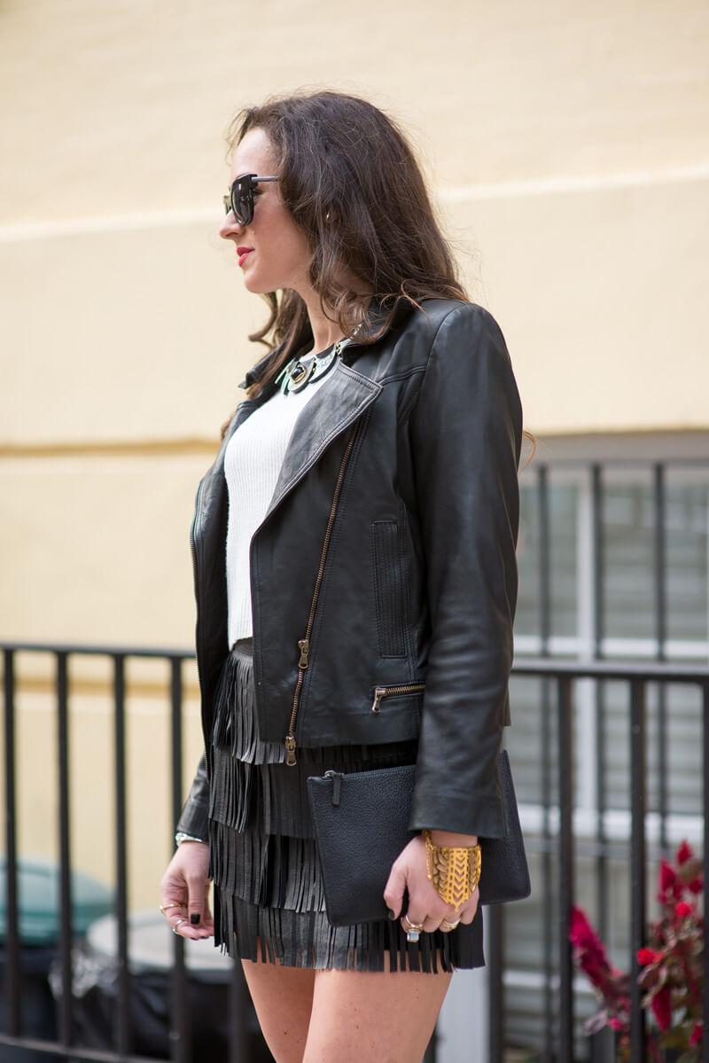 The Village Vogue - Zara Leather Fringe Skirt