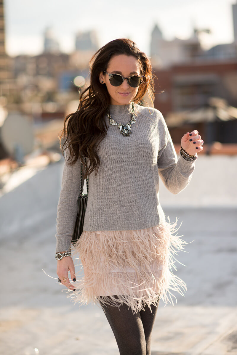 Club Monaco Dace Feather Skirt | thevillagevogue.com