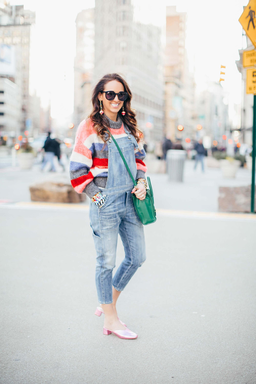 Chunky Sweaters + Overalls   elizahiggins.com